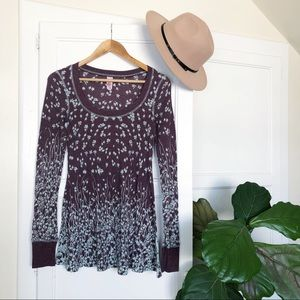 Free People Thermal Top Boho Floral Print Size S
